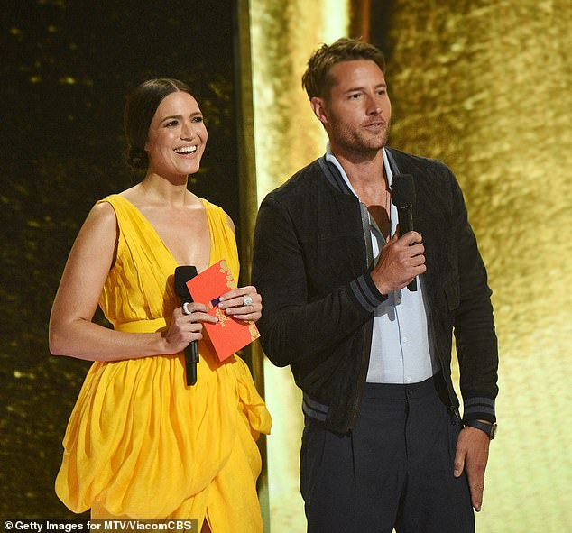 Day one: Hartley was joined on stage with actress and singer Mandy Moore during the show