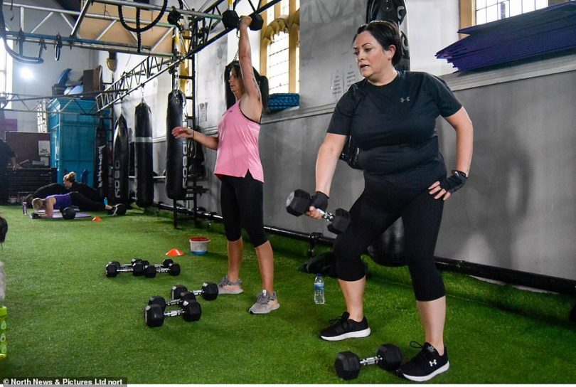 People take part in training sessions at STK Fitness in South Tyneside this morning