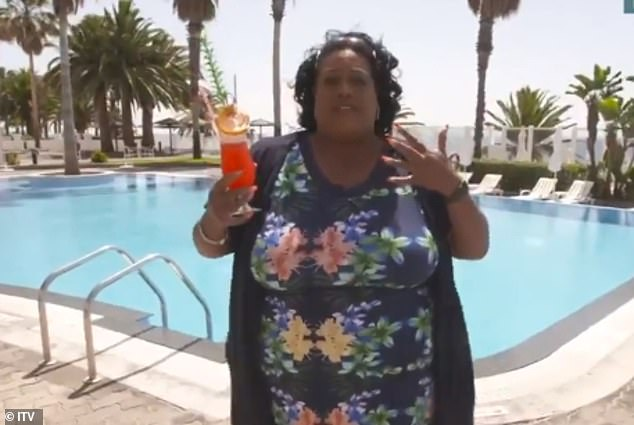 Honest:Alison Hammond, 46, waited until the cameras had stopped rolling during Monday's This Morning before enjoying a dip in the swimming pool of her Madeira hotel