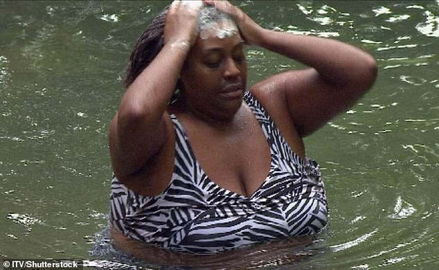 Bathing: Alison pictured in a swimsuit during her I'm A Celebrity stint in 2010