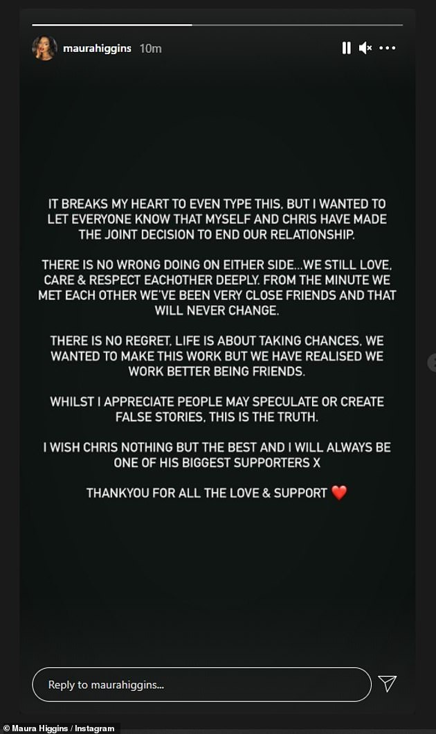Passionate: The Irish beauty wrote: 'It breaks my heart to even type this but I wanted to let everyone know that Chris and I have made the joint decision to end our relationship'