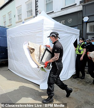 Officers cleared the basement of rubbish, picture frames and menus