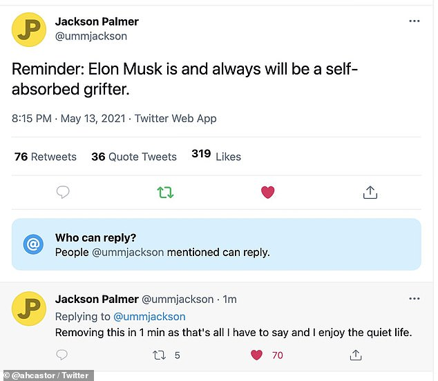 Palmer took aim at Musk in a string of since-deleted tweets on Thursday, writing: 'Reminder: Elon Musk is and always will be a self-absorbed grifter'