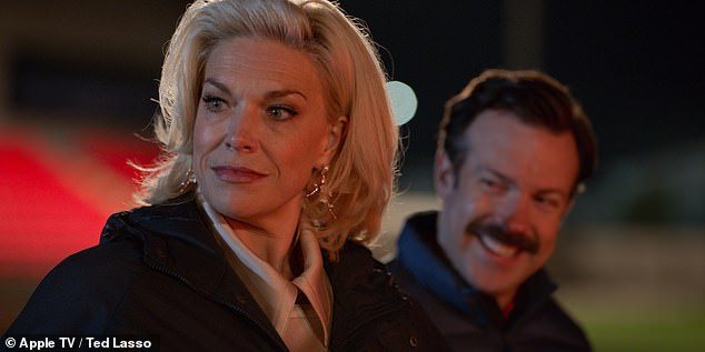 Fan favourite: The actress, 46, portraysRebecca Welton in Ted Lasso, going from bitter ex wife to confident club owner in just one season (pictured with co-star JasonSudeikis)