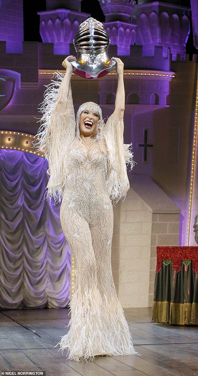 Treading the boards: The mother-of-one looked sensational in a skin-tight catsuit for her role of The Lady of The Lake in musical Spamalot
