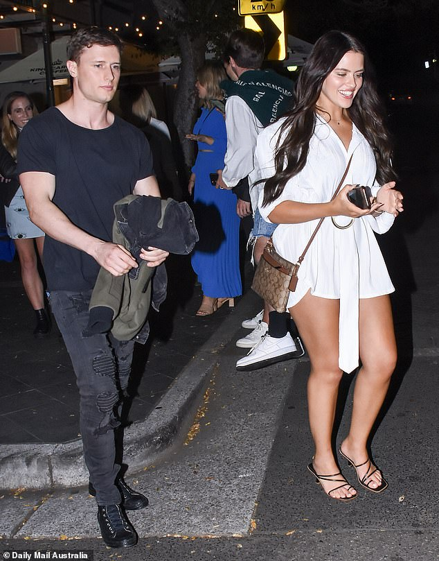Something to tell us?Big Brother's Christina Podolyan, 21, (right) and hunky intruder Brenton Balicki, 31, (left) were pictured enjoying a night in Sydney as their onscreen romance blossoms