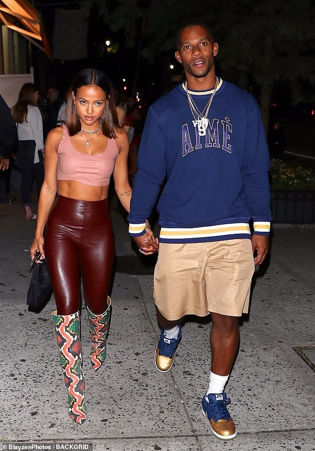 Split: Tran has been single since her split in February from her three-year-old boyfriend, former New York Giants wide receiver Victor Crux.  They are pictured in Los Angeles in September 2019