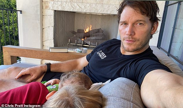 'Baby time' with both children: Schwarzenegger and Pratt are parents of 10-month-old baby daughter Lyla Maria and he fathered son Jack, 8; from his eight-year marriage to Mom star Anna Faris, which ended in 2018 (pictured April 30)