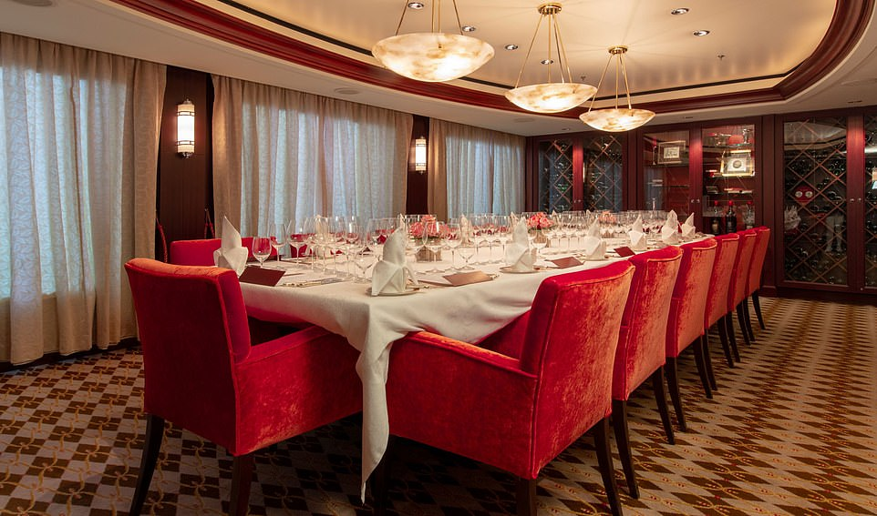 On Crystal Cruises, the wood-panelled Vintage Room can be booked for private dinners, with top chefs and fine wines on offer. The cost is from £143pp