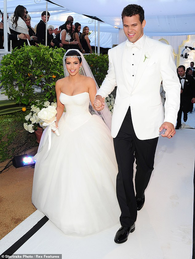 Short-lived: Kim married NBA player Kris Humphries in front of the KUWTK cameras, but split with just 72 days later in 2011 (the pair pictured that year, above)