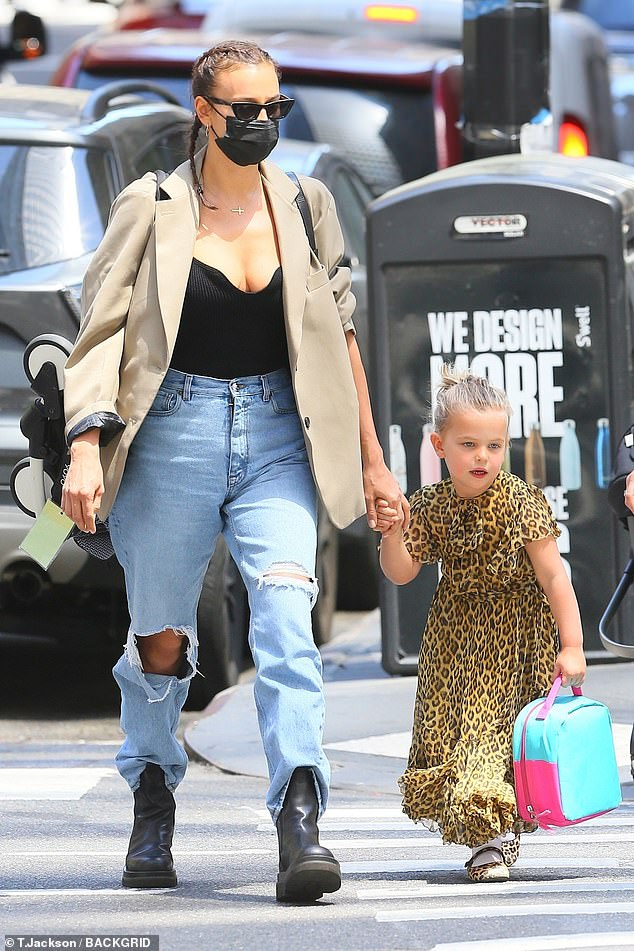 Mommy and me:Irina Shayk was focused on being the best mom to her little girl, Lea, as they walked to school in New York on Tuesday morning