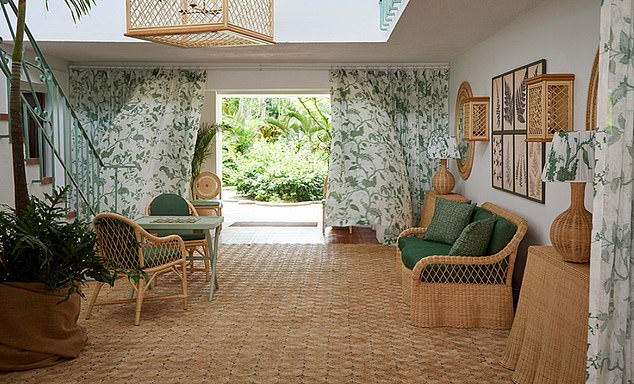 Going green: Emerald and white curtains are thought to be the firm's Tendril Vine