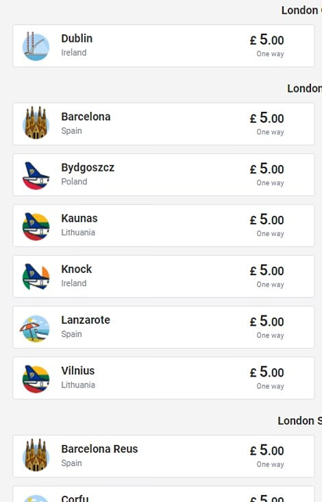 Ryanair today sought to cash in on the boom, offering £5 flights to 'amber list' destinations such as Barcelona, Dublin, Corfu, Berlin and dozens more cities and resorts across Europe through June, when the EU is expected to open up.