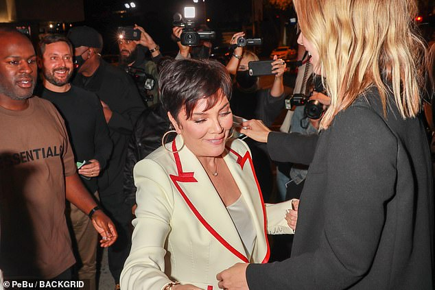 Causing a stir: Also spotted at the Los Angeles diner was Kris Jenner, 65, and her boyfriend Corey Gamble, 40