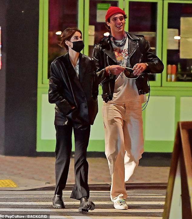 Low-key:Kaia Gerber and her boyfriend Jacob Elordi enjoyed a low-key stroll in Los Angeles, California, on Tuesday night