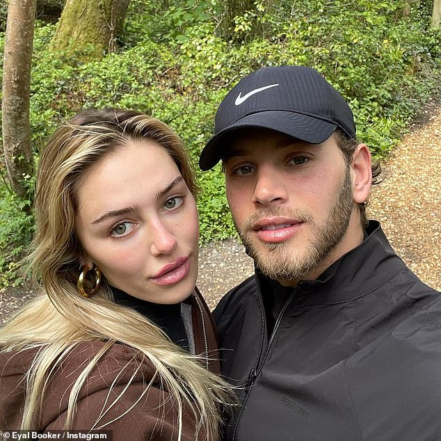 Cute couple:Taking to Instagram on Wednesday, Eyal, 25, shared a gushing post about his other half, 22, as he detailed their stay at the Chewton Glen Hotel & Spa in Hampshire