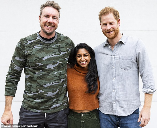 Prince Harry is pictured with Dax Shepard (left) and his co-hostMonica Padman (centre)