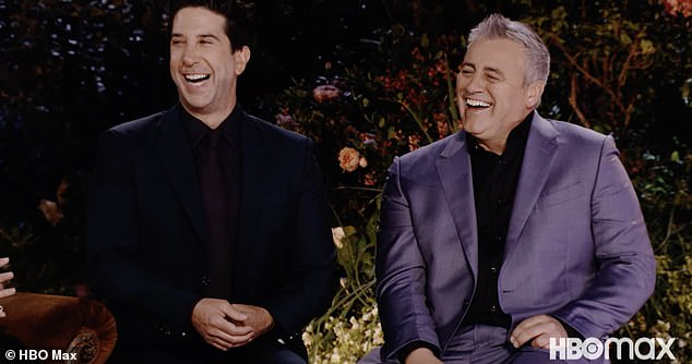 Make em laugh: Matt picked up his cup of coffee and muttered 'bulls***' under his breath while David laughed and pointed