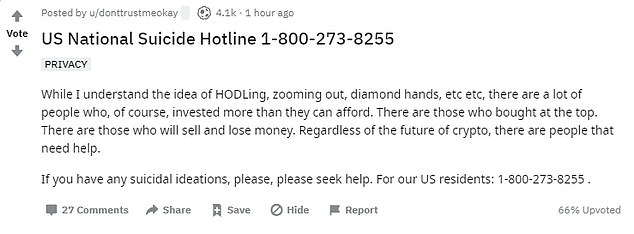 On the Reddit board CryptoCurrency, one person posted a suicide help line