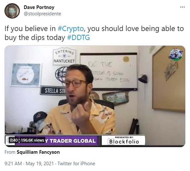 Barstool Sports founder Dave Portnoy, a cryptocurrency enthusiast, said that he would not sell as prices plunged