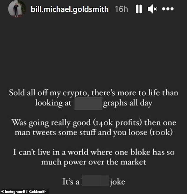 That's a shame:On Wednesday, Bill revealed he had sold his cryptocurrency and suffered a loss of $100,000 after Musk sent the price of Bitcoin tumbling by suggesting in a tweet that Tesla had dumped the remainder of its Bitcoin holdings