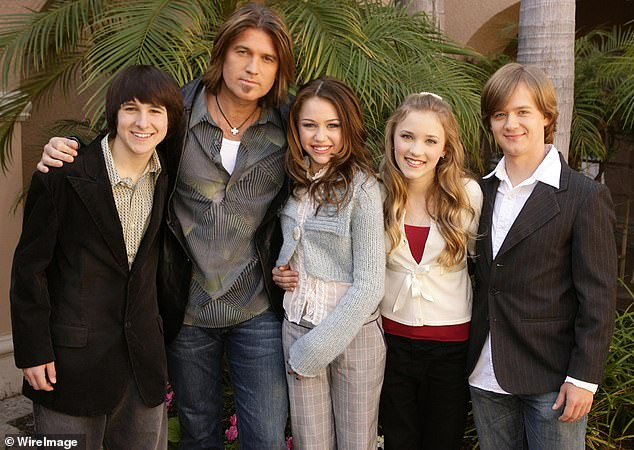 Not in contact:As for if she keeps in touch with her former Hannah Montana costars, Morgan admitted to her followers that she has not 'spoken to any of the Hannah Montana cast since 2010';Mitchel Musso, Billy Ray Cyrus, Miley Cyrus, Emily Osment and Jason Earles pictured in 2006
