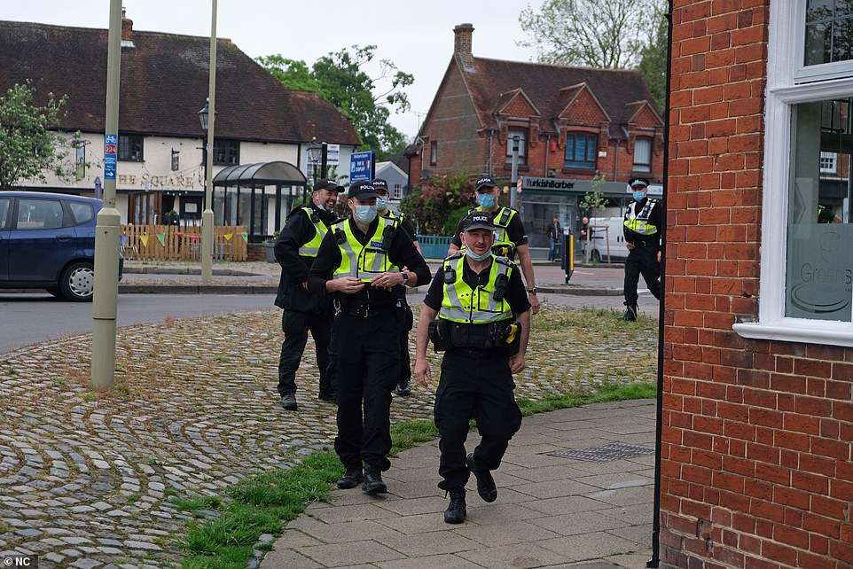 Police are patrolling the area to ensure Covid restrictions and social distancing measures are followed