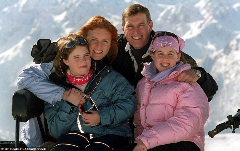Home: The £15million mansion had been handed to Prince Andrew and Sarah Ferguson by the Queen as a wedding gift(pictured with daughters Beatrice and Eugenie on his 43rd birthday)