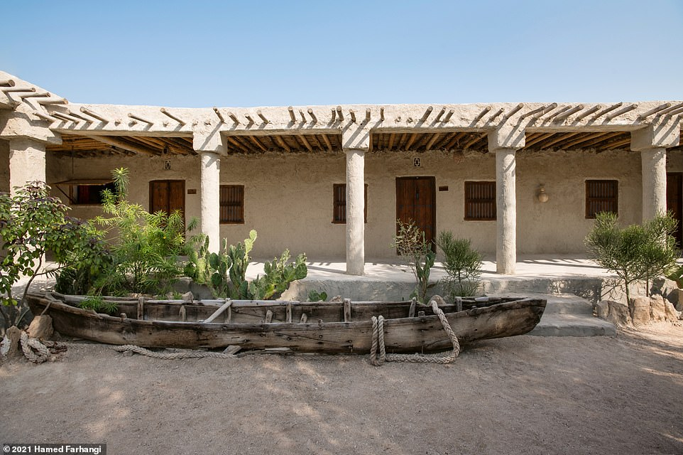 Pictured here is the Haft Rangoo guest house, located on Qeshm Island, off the south coast of Iran. According to Wegmann the rooms in this guesthouse are made from mud brick and feature traditional floor mattresses and mosquito netting. He writes: 'Haft Rangoo is an abode for laid-back travelers who want to experience the simple lives of local islanders, a true opportunity to go back to basics, reveling in Qeshm's unique nature and the culture of its inhabitants.' Guests staying here can relax in the reading room, swing in hammocks, and take part in a range of water sports