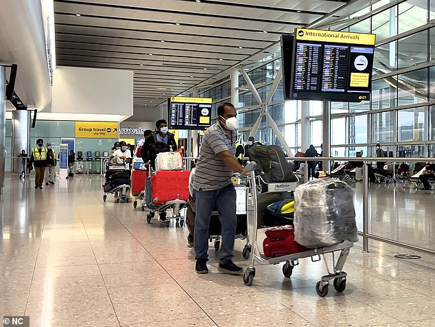Pictures from Terminal 2 today show travellers from Covid-stricken India just yards away from other flyers as they were escorted to quarantine
