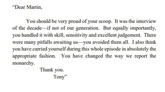 Tony Hall sent this gushing note to Mr Bashir after the 1995 show saying he had 'changed the way we report the monarchy' - but today said he was wrong to trust him and insisted his own integrity is intact