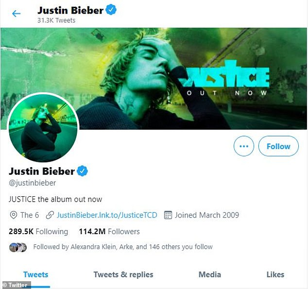 Justin Bieber is one of the most followed accounts on Twitter, with more than 114 million followers.