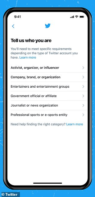 The verification process, which appears in Account Settings, has users tell Twitter where they are from