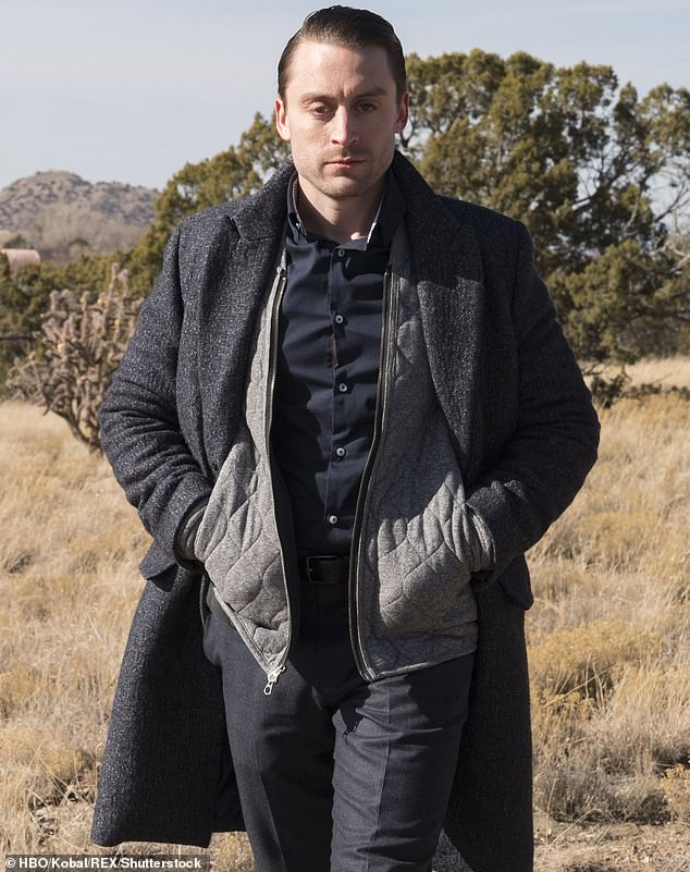 There he is: Kieran is pictured playing Roman Roy on season one of Succession