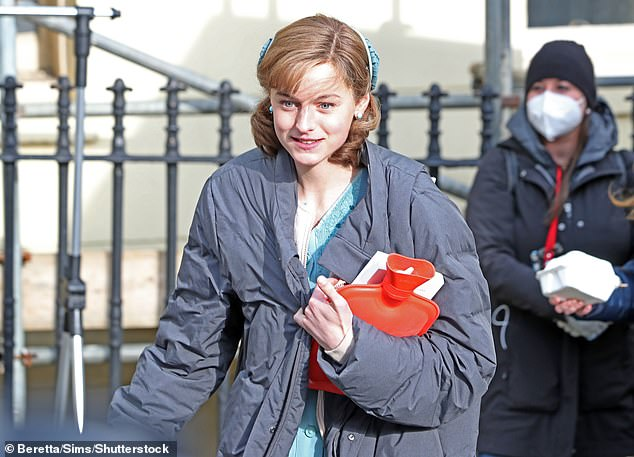 Doting wife: She is set to star as the wife of Harry's character, who is secretly gay but married a woman due to societal expectations (pictured filming earlier this month)