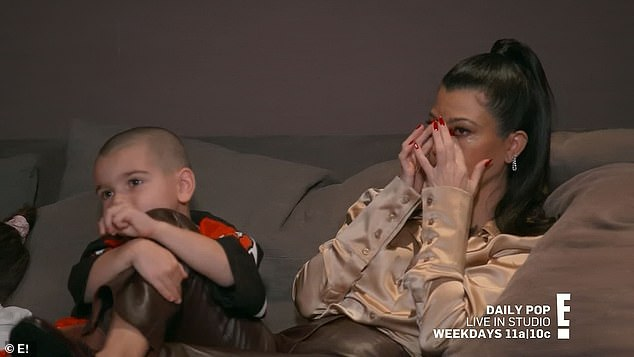 Getting emotional: Kourtney wiped away tears watching the highlight reels of her and Scott and their children