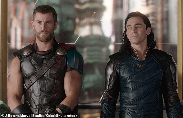 Back to work:Chris Hemsworth has been flying in and out of Sydney since production commenced in January. Pictured Chris andTom Hiddleston
