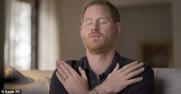 Talking: In Prince Harry's series The Me You Can't See, Harrytries the therapy, which provides bilateral stimulation, to help overcome the effects of psychological trauma