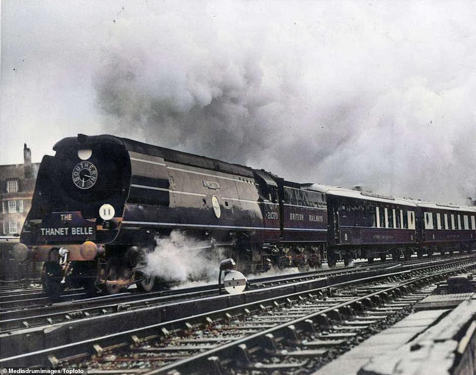 The Battle of Britain locomotive hauls the luxury Pullman Thanet Belle from Margate in June 1948
