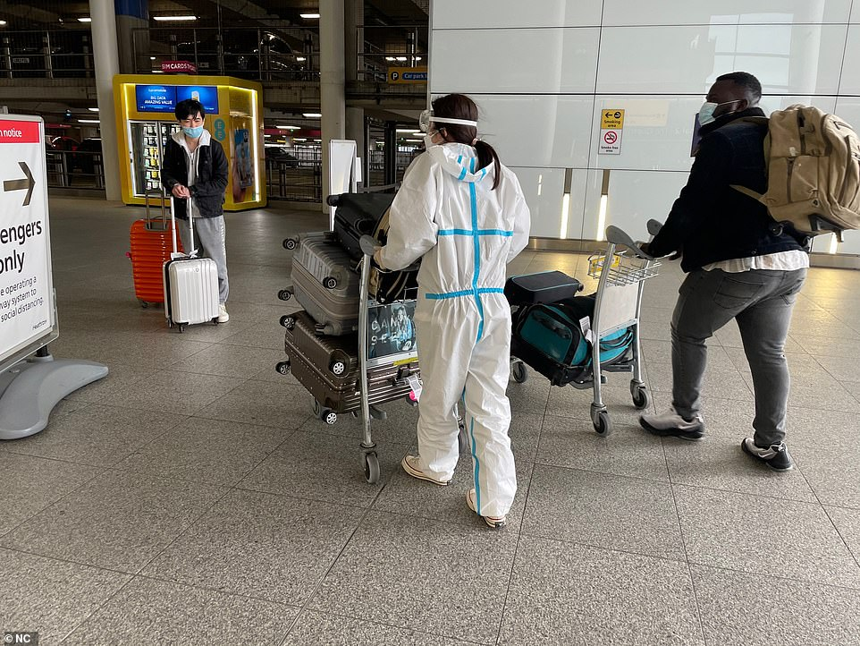 This woman (pictured today) is said to have walked off out the airport and then realised she had gone to the wrong bit. She was said to have looked like a lost duckling. But she soon realised she had gone the wrong way after coming out in the taxi rank area
