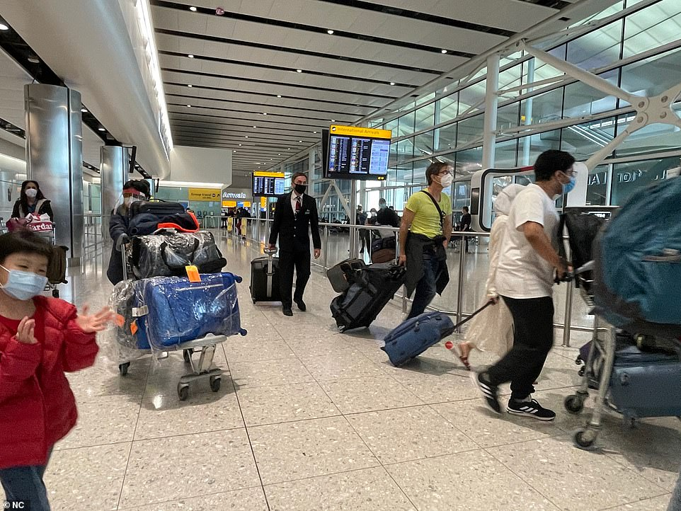 The GMB Union spokesman continued:'Workers who desperately want to get the UK flying again but are in fear for theirs and their family's safety. GMB wants to know how the Government will mitigate further problems when more countries are added to colour-coded lists?' Pictured: Heathrow today