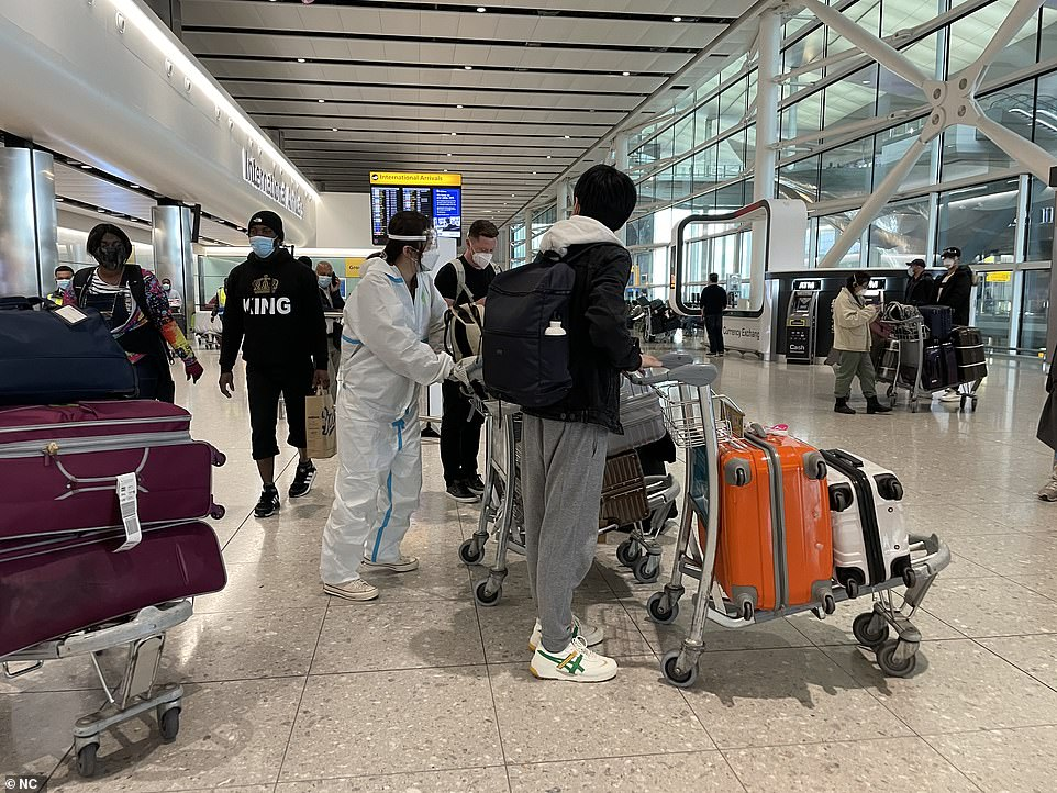 The PM delivered a bullish message on the prospects for the unlocking in England after a week of anxiety about whether the Indian variant will derail the country's hopes. Pictured: Heathrow today