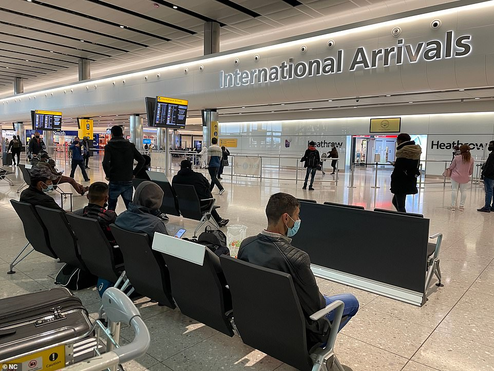 Meanwhile Boris Johnson hinted the June 21 'freedom day' will go ahead as he said he still does not see 'anything' in coronavirus data that would prevent the roadmap going ahead. Pictured: Heathrow today