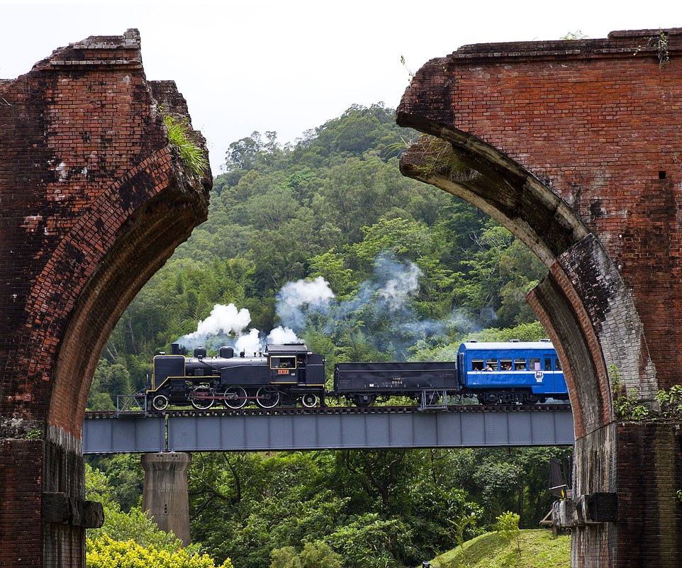Viewers will be taken on a rail journey to the striking ruins of the original Longteng Bridge