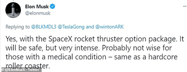 The CEO made the announcement on Twitter, stating the upgrade includes the SpaceX rocket thruster option that 'will be safe, but very intense'