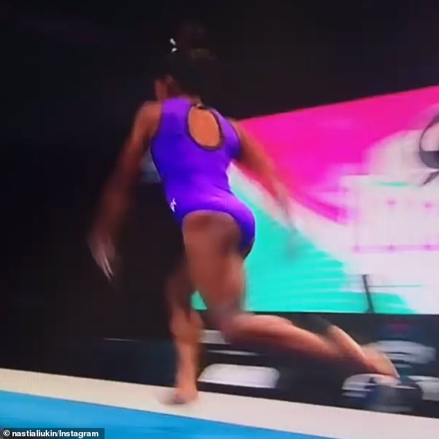She's off: The vault begins with Simone sprinting down the runway towards the vault