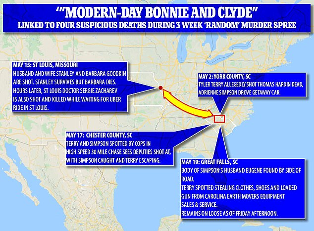 This map shows how Terry and Simpson's alleged crime spree unfolded