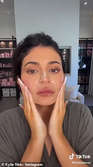 Effective: In a video shared to TikTok and Instagram, Jenner showed just how effective the Kylie Skin makeup melting cleanser was at removing her glammed-up face