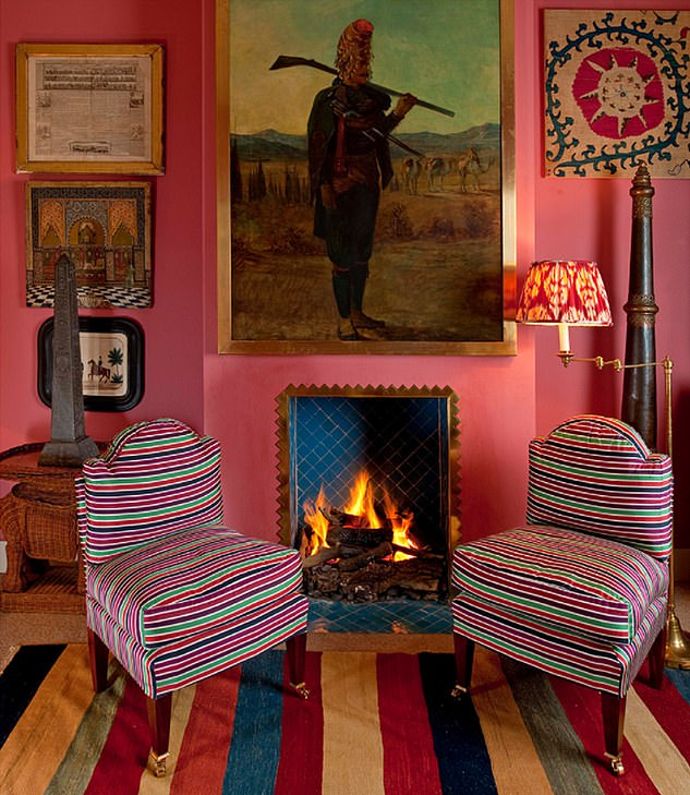 Dazzling choice of colours: The couple's sofa is in Soane Britain's Damascus Stripe