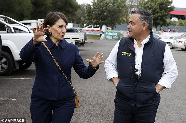 Both major parties are sweating on the results, which would push the Berejiklian government into minority (Ms Berejiklian pictured with Deputy Premier John Barilaro)
